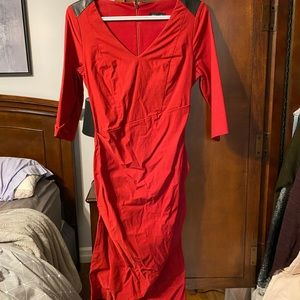 Red Le chateau dress with faux leather accent